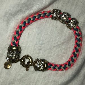 J. Crew Pink braided bracelet w gold gem accents